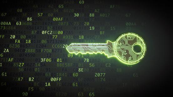Circuit Board「Green circuit digital key on binary code」:スマホ壁紙(19)