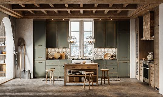 Chalet「3d render of simple kitchen design in winter cottage」:スマホ壁紙(10)