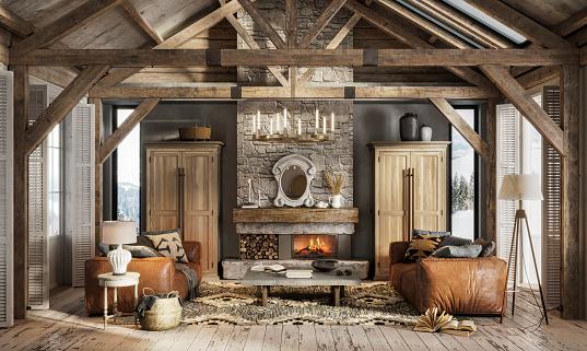 Chalet「3d render of a luxurious interior of a winter cottage」:スマホ壁紙(8)
