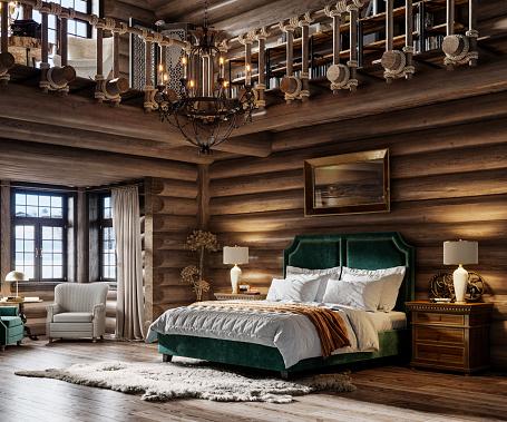 Chalet「3d render of winter cottage bedroom」:スマホ壁紙(7)