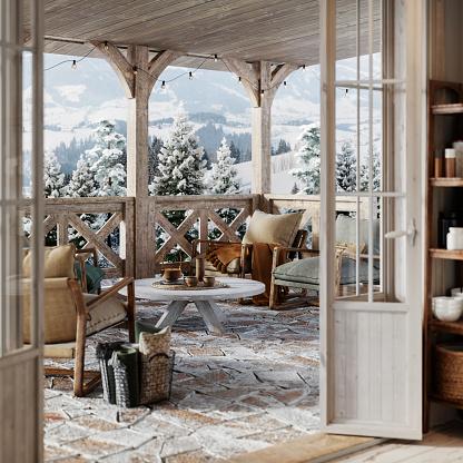 Chalet「3d render of a balcony in snowy winter cottage」:スマホ壁紙(2)