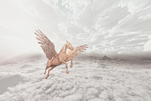 Horse「Cracked horse flying in clouds」:スマホ壁紙(14)