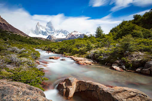 River「Monte Fitz Roy (3,405m) massif in Patagonia, Argentina, January 13, 2018」:スマホ壁紙(4)