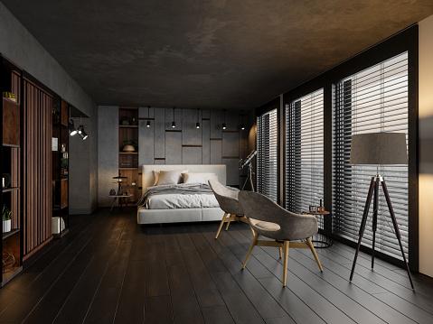 LED Light「Modern Bedroom In The Evening」:スマホ壁紙(9)