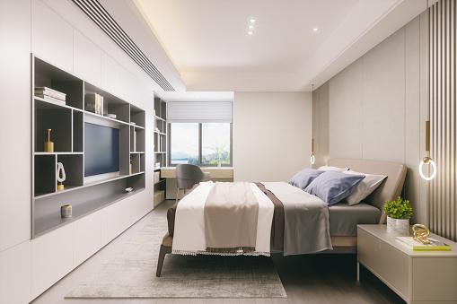 Hotel Suite「Modern Bedroom Interior」:スマホ壁紙(11)