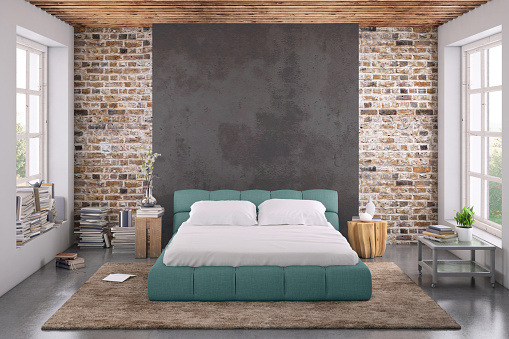 Denmark「Modern bedroom interior with blank wall for copy space」:スマホ壁紙(19)