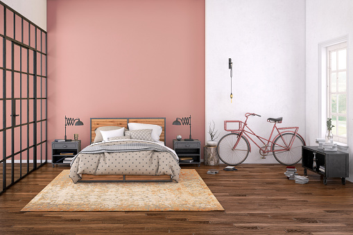 Hostel「Modern bedroom interior with blank wall for copy space」:スマホ壁紙(3)