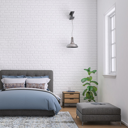 Hostel「Modern bedroom interior with blank wall for copy space」:スマホ壁紙(16)