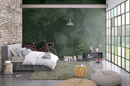 Denmark「Modern bedroom interior with blank wall for copy space」:スマホ壁紙(14)