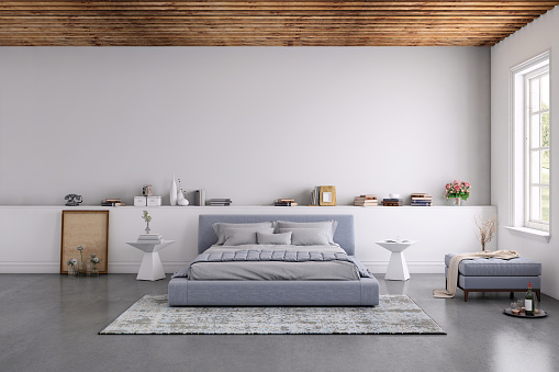 Domestic Life「Modern bedroom interior with blank wall for copy space」:スマホ壁紙(4)