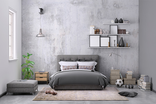 Hostel「Modern bedroom interior with blank wall for copy space」:スマホ壁紙(5)
