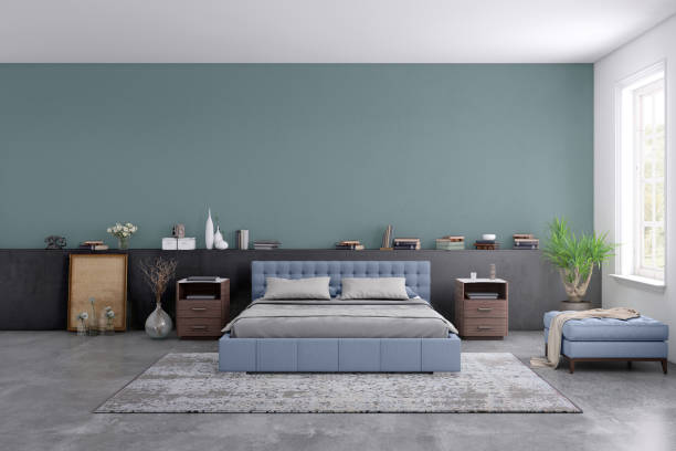 Modern bedroom interior with blank wall for copy space:スマホ壁紙(壁紙.com)