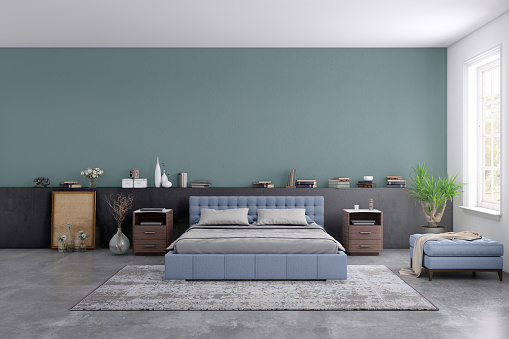 Mid-Atlantic - USA「Modern bedroom interior with blank wall for copy space」:スマホ壁紙(0)