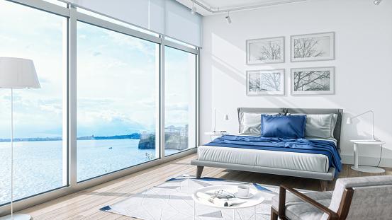 自然の景観「海の景色を望むモダンなベッドルーム・インテリア」:スマホ壁紙(14)