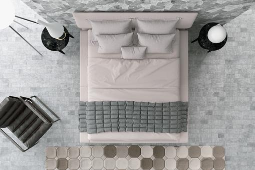 灰色「上のモダンベッドルーム」:スマホ壁紙(1)