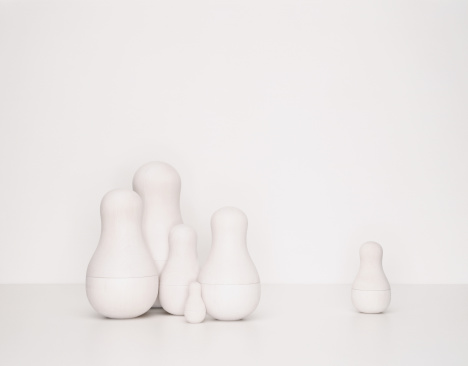 Doll「Set of undecorated Russian dolls, one separated from group」:スマホ壁紙(10)