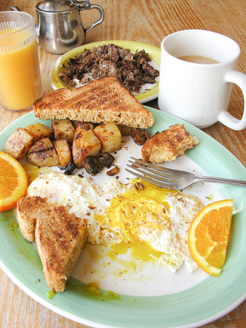 Inexpensive「American diner Breakfast of fried eggs, fried potatoes, hash, toast, orange juice, and coffee, - half eaten」:スマホ壁紙(15)