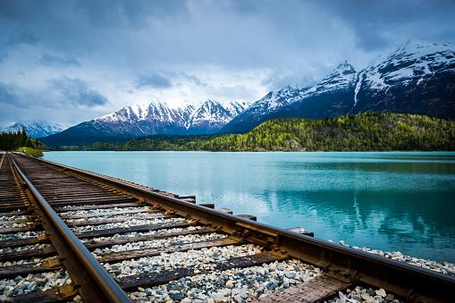 コースト山脈「湖と山の範囲の鉄道線路」:スマホ壁紙(11)