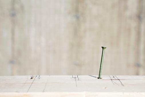 Carpentry「Single screw in plank with construction markings」:スマホ壁紙(15)