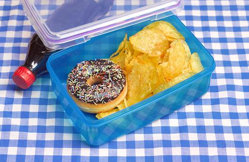 Unhealthy Eating「Unhealthy lunch box on table cloth」:スマホ壁紙(12)