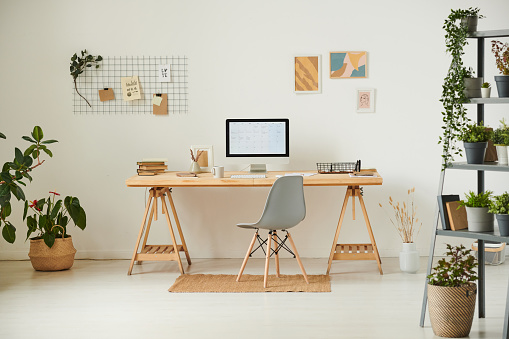 Working「Comfortable workplace with potted plants, wall organizer, pictures and computer」:スマホ壁紙(15)