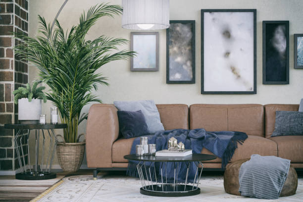 Comfortable Sofa in Domestic living room:スマホ壁紙(壁紙.com)