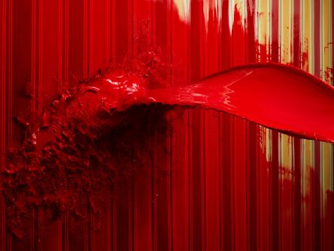 Color Image「Red paint splattering on painted stripe wallpaper」:スマホ壁紙(0)