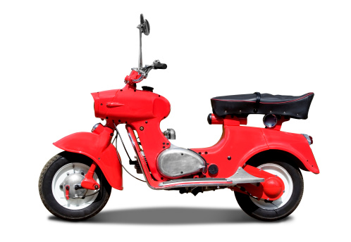 Cool Attitude「Old retro red italian scooter on white background with path」:スマホ壁紙(4)