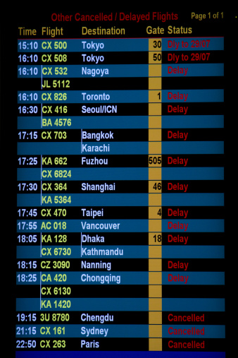 Delayed Sign「Hong Kong Airport flight departure notice board」:スマホ壁紙(13)