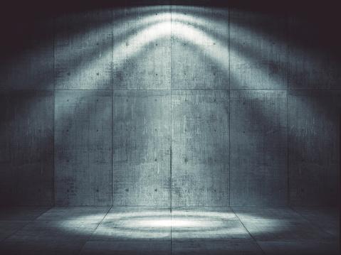 Street Light「Dark concrete environment with top illumination」:スマホ壁紙(6)
