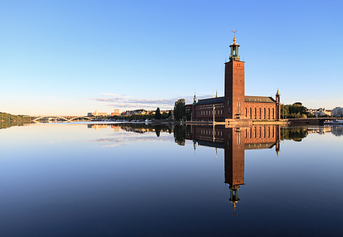 Bell Tower - Tower「Stockholm City Hall with reflection on calm water」:スマホ壁紙(8)