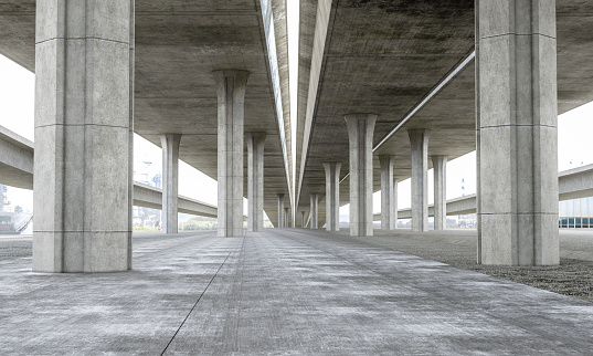 Motor Vehicle「Bridge Parking lot modern concrete background stage」:スマホ壁紙(4)