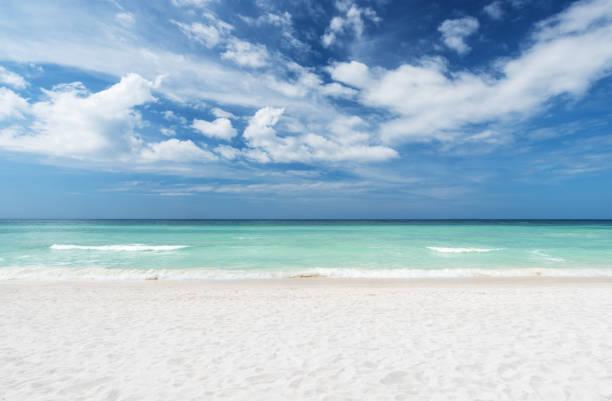 Summer beach and sea with clear sky background:スマホ壁紙(壁紙.com)