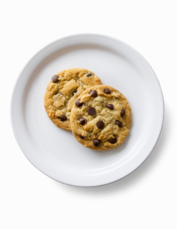 Unhealthy Eating「2 chocolate chip cookies on a plate」:スマホ壁紙(5)