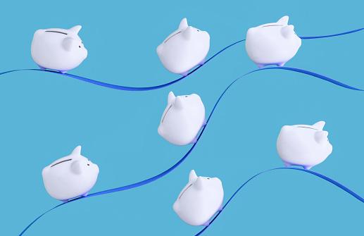 Danger「Piggy banks riding paper waves」:スマホ壁紙(4)
