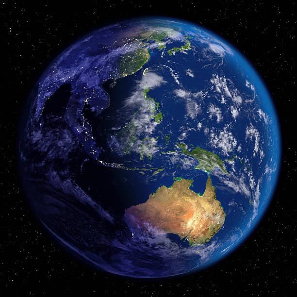 Planet Earth at Night & Day (Far East and Oceania):スマホ壁紙(壁紙.com)