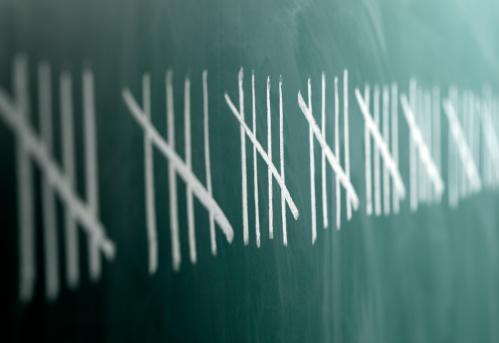 Chalk - Art Equipment「Row of tally charts on blackboard (differential focus)」:スマホ壁紙(11)