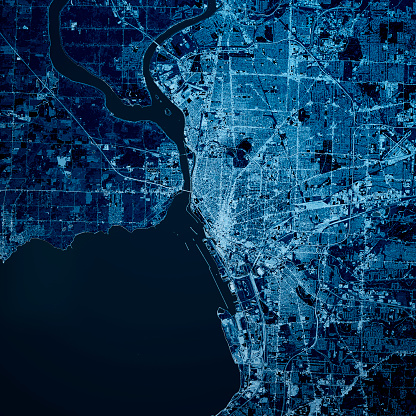 Digital Composite「Buffalo New York State 3D Render Map Blue Top View Oct 2019」:スマホ壁紙(1)