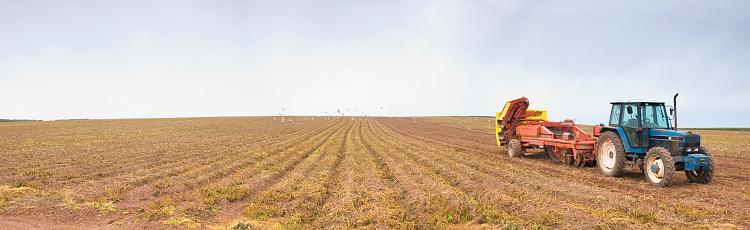 Plowed Field「Field and tractor」:スマホ壁紙(1)