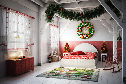 Christmas Decoration「Lovely Christmas Bedroom」:スマホ壁紙(6)