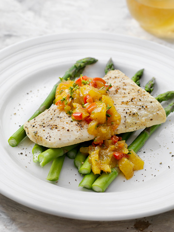 Pollock - Fish「Butter Poached Halibut with Mango Chutney and Asparagus」:スマホ壁紙(5)