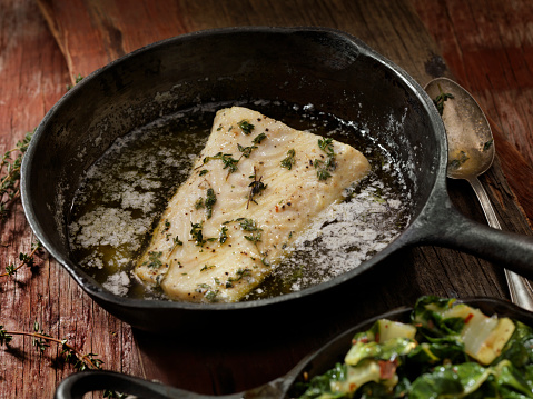 Pollock - Fish「Butter Poached Halibut with Swiss Chard」:スマホ壁紙(1)