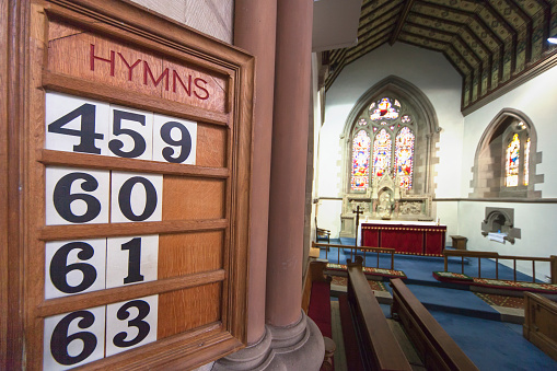 Singer「Hymn numbers posted on a wooden board in st. andrew's church; kelso scottish borders scotland」:スマホ壁紙(5)