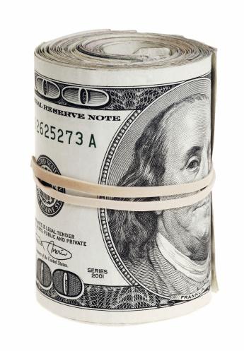 American One Hundred Dollar Bill「Dollars roll isolated on white background」:スマホ壁紙(8)