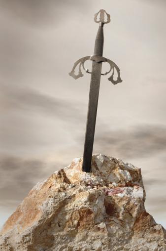 Medieval「Antique sword stuck in stone rock」:スマホ壁紙(11)