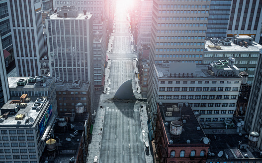 Alley「Shark fin swimming in intersection of city streets」:スマホ壁紙(8)