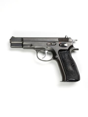Weapon「9mm hand gun on white background.」:スマホ壁紙(9)