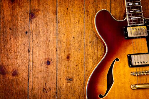 Rock Music「Jazz blues guitar on wood」:スマホ壁紙(2)