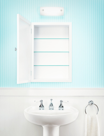 Sink「Empty medicine cabinet in residential bathroom」:スマホ壁紙(12)