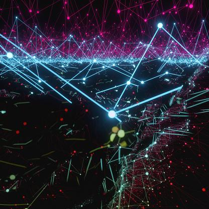 Neuroscience「An artificial intelligence neural network made of polygonal lines in the shape of an Atom Array over a black liquid.」:スマホ壁紙(3)